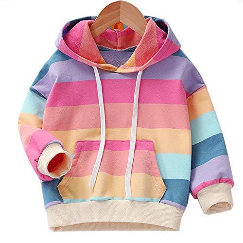 Julerwoo Girls Cotton Pink Sweatshirts Hoodie Dinosaur Printed Tops (7-8Years, Color Stripe)