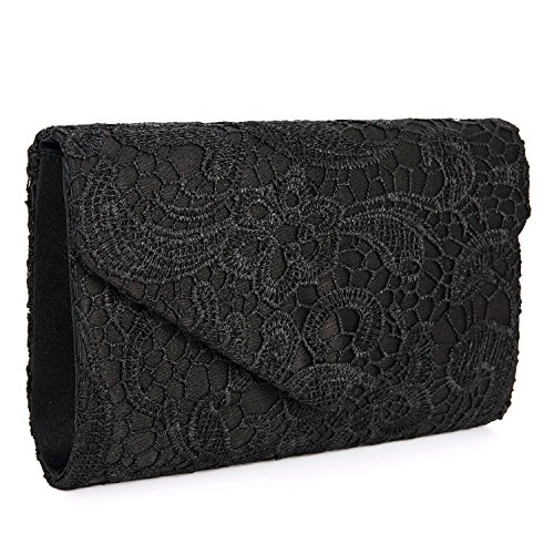 UBORSE Women's Elegant Floral Lace Envelope Clutch Evening Prom Handbag Purse Black