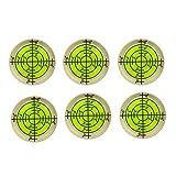 6x Bubble Spirit Level, 32x7mm Circular Bullseye Level Inclinometers for Tripod, Phonograph, Turntable - Fluorescent Yellow