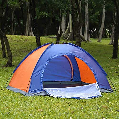 Tenda portatile da campeggio per 2 persone, con 2 porte e doppio strato, impermeabile, per campeggio, escursioni, attività all'aria aperta (200 x 150 x 110 cm)