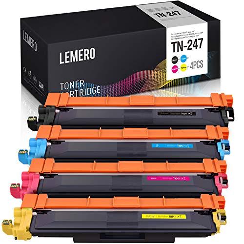LEMERO 4 Compatible TN-247 TN247 [con Chip] Toner para Brother HL-L3210CW HL-L3230CDW HL-L3270CDW MFC-L3710CW MFC-L3730CDN MFC-L3750CDW MFC-L3770CDW DCP-L3510CDW DCP-L3550CDW DCP-L3517CDW