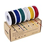 TUOFENG 22 awg Solid Wire-Solid Wire Kit-6 different colored 30 Feet spools 22 gauge Jumper wire- Hook up Wire Kit
