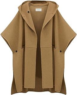 Runyue Women Plus Size Long Hood Cape Shawl Cloak Poncho Coat Top