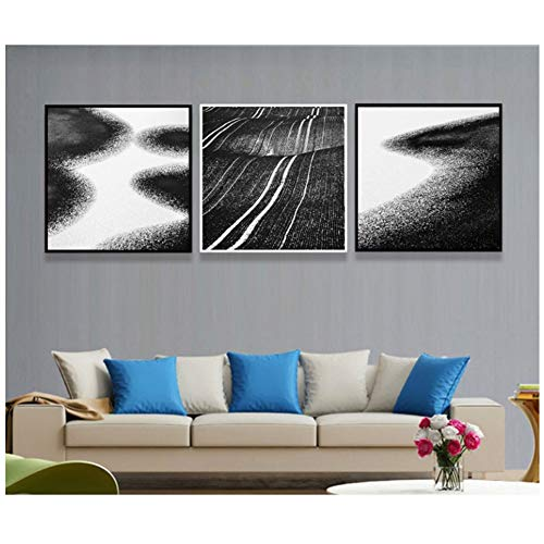 Eenvoudige zee strand zwart en wit canvas kunstdruk schilderij poster wandschilderijen voor woonkamer decoratie 50x50 cm geen lijst