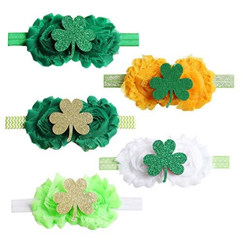 Tendycoco 5 st. Patricks Day haarband, schattig klaverblad, accessoires voor haar, kapsel, kapsel, kapsel, voor baby's, kinderen, bambine-cinq modellen