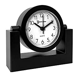 Đồng hồ để bàn Desktop Swivel Clock for Desk | Shelf | Tabletop, Black Frame w/White Face TimekeeperBrand