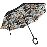 Elxf Paraguas invertido Funny Paw Print Pug Dog Reverse Umbrella Protección UV...