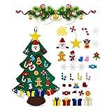 Viilich - Albero di Natale in feltro, fai da te in feltro, per bambini e bambini, con 33 decorazioni staccabili, 100 cm, per regali di Natale, decorazioni per la porta della casa e la parete di Natale