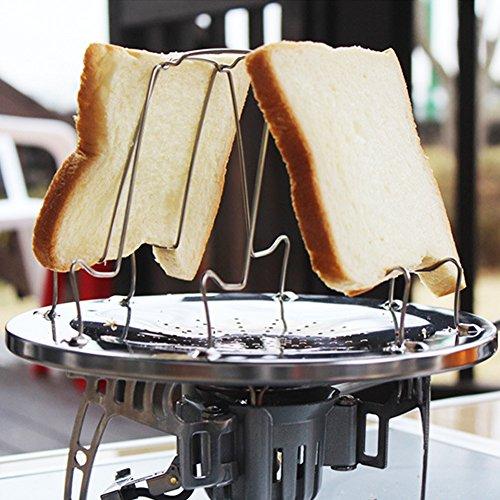 Folding Camp Fornuis Broodrooster, RVS Camping Toaster Rack Houder 4 Slice Toaster Tray Koken Ontbijt voor BBQ Party Outdoor Wandelen Camping Vissen Picnic