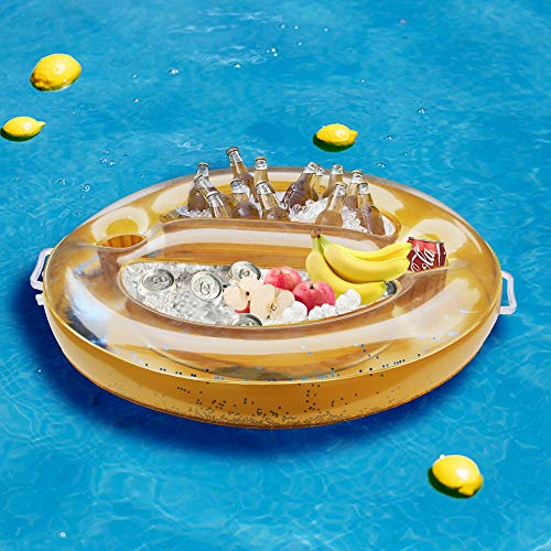 Zcaukya Inflatable Floating Drinking Holder, 28-inch Inflatable Pool Drinking Cooler, Floating Pool Food Tray, Inflatable Pool Cooler Serving Bar for Summer