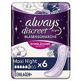 Always Discreet Inkontinenz-Einlagen Maxi Night 8er-Pack (48 Stück) sicherer Schutz & extra hohe...