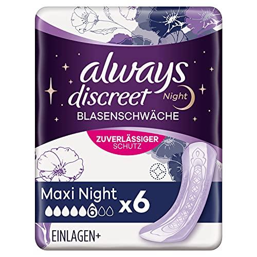 Always Discreet Inkontinenz-Einlagen Maxi Night 8er-Pack (48 Stück) sicherer Schutz & extra hohe Saugstärke bei Blasenschwäche mit häufigem Urinverlust, neutralisiert Gerüche, 8 x 6 Binden