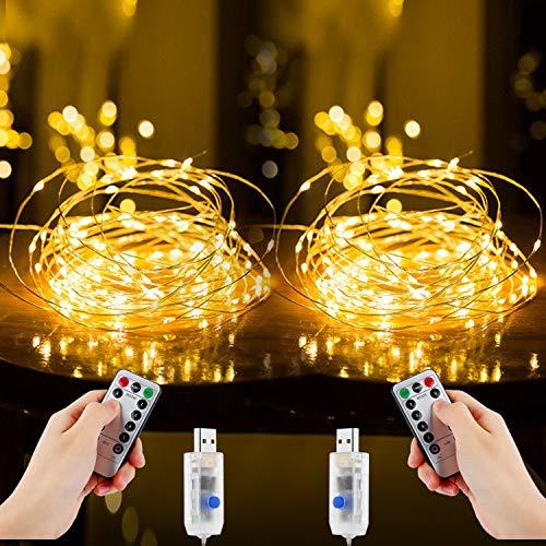 Led Lichterkette, Nasharia 2 Stück 10M 100LED USB Lichterkette Draht Wasserdicht mit Schalter, Kupferdraht Stimmungs Lichterkette für Zimmer, Innen, Weihnachten, Außen, Party, Hochzeit, DIY usw.