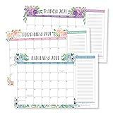 Floral 2021-2022 Desk Calendar, Large Monthly Wall Planner, 18 Month Academic Desktop Calendar or Fridge Planning Blotter Pad, Boho Flower Notes Section for Teachers, Family or Business Office 11x17'