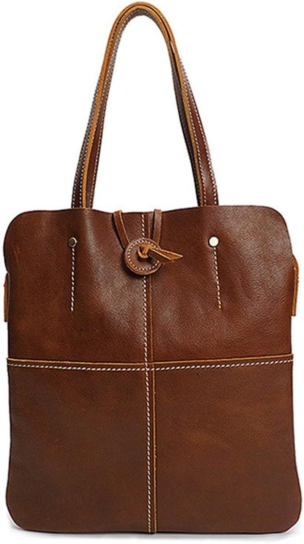 Sturdy New Small Square Header Cowhide Handbag Shoulder Retro Handbag Handmade Leather Handbags Oil Leather Ladies Handbag Large Capacity (color   Brown)