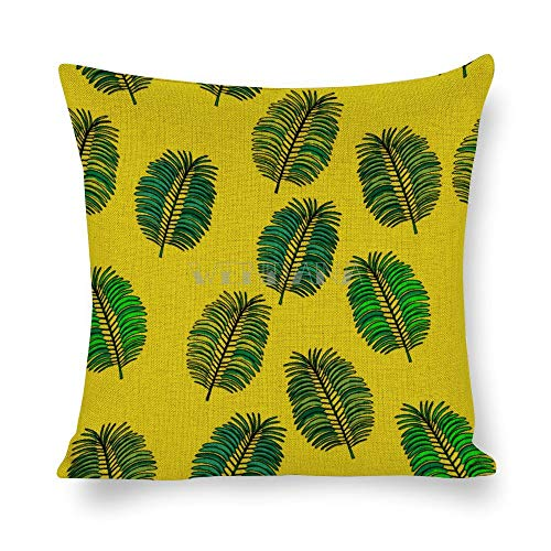 happygoluck1y - Funda de cojín de 45 x 45 cm, diseño de hoja de palmera verde sin costuras, diseño de árbol de coco, 45 x 45 cm, decoración del hogar, funda de almohada de lino y algodón, 18 x 18 cm, para sofá o coche