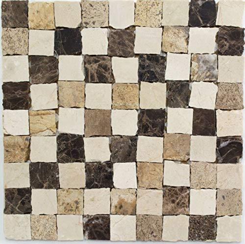 Mosaico azulejos mármol piedra natural beige Carpet Crema Marfil Dark Emperador honed MOS42-M-Vh021
