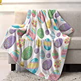 JOOCAR Flannel Throw Blanket Happy Easter Colorful Eggs Cozy&Soft Plush Blankets for Bed Couch Living Room Sofa Chair