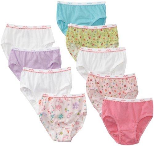 Hanes Girls' No Ride up Cotton Briefs 9-Pack, Size 4