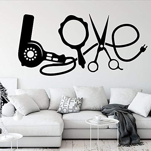Love word tatuajes de pared secador de pelo moda peluquería peluquería decoración de interiores puertas y ventanas pegatinas de vinilo murales de arte