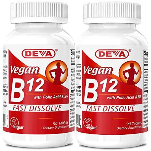 Deva Vegan Vitamins B-12 1000mcg with Folic Acid & B-6, Supports Nervous System, Healthy Brain Function & Energy Production, Fast Dissolve, 90 Tablets (Pack of 2)