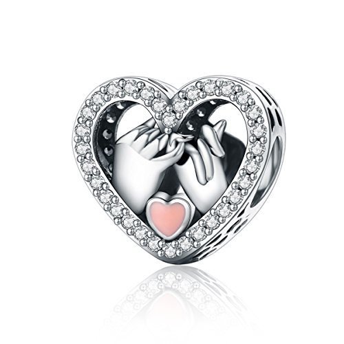 BISAER Pinky Swear Silver Heart Charms Filled Rhinestones Eternal Promise Sterling Silver Heart Charms Set Gemstones for Women Girls Forever Love Heart Charms for Pandora Bracelet