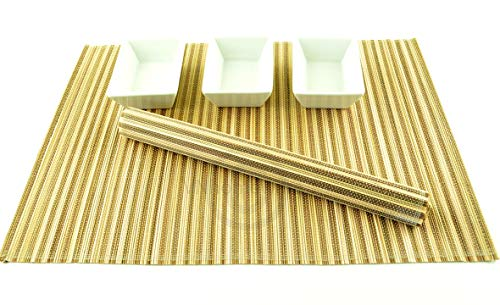 P021 Lot de 4 sets de table en bambou faits à la main Respectueux de l'environnement Marron/crème