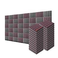 新しい48ピース 500 x 500 x 50 mm 半球グリッド 吸音材 防音 吸音材質ポリウレタン SD1040 (ブルゴーニュとグレー)