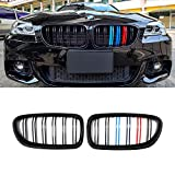 SNA M Color F10 Grille, Front Kidney Grill for 2010-2016 BMW 5 Series F10 F11 And F10 M5 (Double Slats Gloss Black Grill, 2-pc Set)