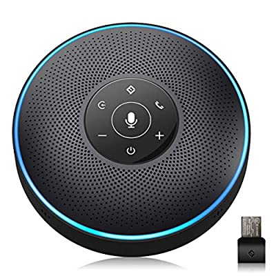 Bluetooth Speakerphone - eMeet Conference Speaker for 5-8 People Business Conference Phone 360º Voice Pickup 4 AI Microphone Self-Adaptive Conference Call Speaker Skype, Webinar, from eMeet