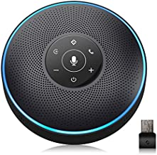 Bluetooth Speakerphone - eMeet Conference Speaker for 5-8 People Business Conference Phone 360º Voice Pickup 4 AI Microphone Self-Adaptive Conference Call Speaker Skype USB Speakerphone