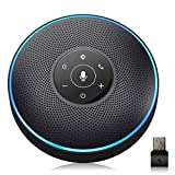 Bluetooth Speakerphone - eMeet M2 Black Conference Speaker w/Dongle, Speaker Idea for Home Office, 360º Voice Pickup 4 AI Echo & Noise Canceling Microphones, Skype Speakerphone up to 8 People