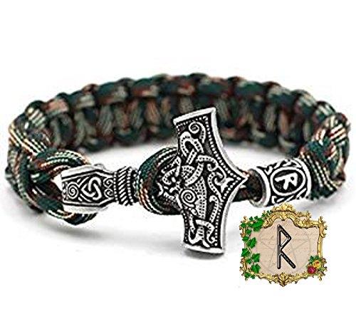 RAIDO Rune Charm Perle - Viking Wikinger Thor`s Hammer Thorhammer Armband - 100% Handarbeit Outdoor Buntes Grün Einzigartiges Paracord Antike Silber Armreif Raven Nordisch Keltisch Nr.52