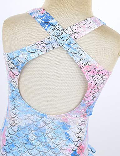 Choomomo Kids Girls One Piece Sparkly Mermaid Scales Swimsuit Ruffled Bikini Swimwear Swimming Costumes Colorful 9-10 Years