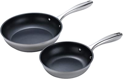 Momscook 2-Piece Stainless Steel Nonstick Multi-Layer Base Fry Pan/Saute Pan Cookware Set, 8-Inch and 10-Inch, Dishwasher/Oven Safe