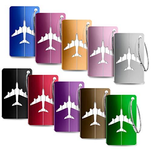 Kofferanhänger Koffer,Foonii PU-Leder Gepäckanhänger,Reisegepäckanhänger Reise Gepäckaufbewahrung Tag Namensschild (10 Pack - Aluminium), Mehrfarbig