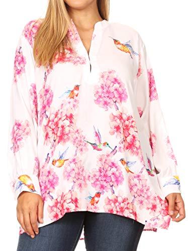 Sakkas Fara damska luźna bluzka z kwiatowym nadrukiem, lekka bluzka z długim rękawem