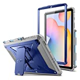 Fintie Shockproof Case for Samsung Galaxy Tab S6 Lite 10.4'' 2020 (Model SM-P610/P615), Tuatara Rugged Unibody Hybrid Full Protective Bumper Kickstand Cover with Built-in Screen Protector, Navy