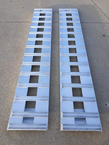 "Set of 2. 9' Aluminum Ramps Car ATV Truck Heavy Equipment Skid Loader Tractor Trailer Ramps 2 RAMPs = 10000lb Capacity 108"" (9') Long (108"") Br Premium Material"