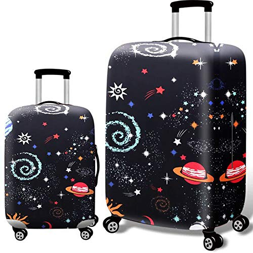 GFBVC Trolley Case Protective Cover Personality Thick Waterproof Elastic Suitcase Protector 3D Print Ravel Luggage Cover Fit For 18-32 Inch Luggage (Color : Space, Size : L(25''-28''))