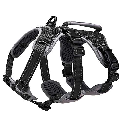 BELPRO Multi-Use Support Dog Harness, Escape Proof No Pull Reflective Adjustable Vest with Durable Handle, Dog Walking Harness for Big/Active Dogs (Black, L)
