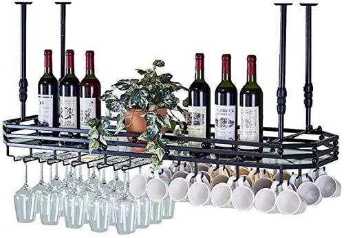 TUHFG Soporte para copas de vino, con lámpara colgante para copas de vino, hierro europeo, altura ajustable, para bares, restaurantes, cocinas (color: negro, tamaño: 100 x 35 cm)