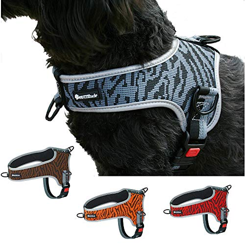 Muttitude No-Pull Training Dog Harness - Front Clip Dog Harness – Brown, Red, Orange, and Black Dog Harness for Dogs 10 to 55 Lbs (XL, Charcoal)