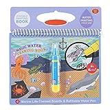Magie Färbung Malbuch Tragbare Kinder Wasser Zeichenbuch mit Wasser Zeichenstift Kinder Früh Lernen Spielzeug für Kinder Bildung Zeichnung Spielzeug(Ocean) -
