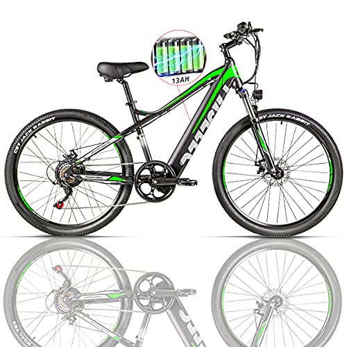 Electric Mountain Bikes for Adults 27.5'' Electric Bike 48v 500 w MTB Ebike with 13ah Hidden Removable Lithium Battery Moped Bicycle Professional 7 Speed Gears (Green)