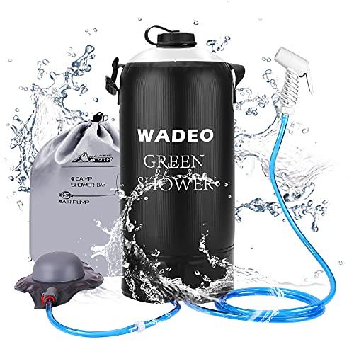 WADEO Campingdusche mit Pumpe, Druckdusche Dusche Tasche Reisedusche 12 Liter mit Duschkopf tragbare und Abnehmbarem Schlauch Duschen Beutel Shower für Wandern, im Freien, Klettern (Schwarz)