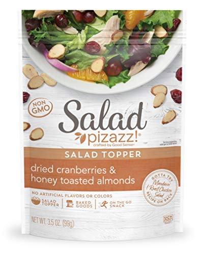 Salad Pizazz! Almond Toppings, Honey Roasted with Cranberries - Snack Mix and Salad Topping - 3.5 Ounce (3.5 OZ) Resealable Bag(Package May Vary)