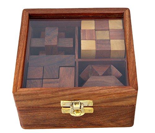 Ajuny 4' uno juegos de madera del rompecabezas fijados...