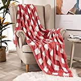 MIULEE Buffalo Check Plaid Throw Blanket Fleece Soft Cozy Lightweight Red and White Bed Blanket Flannel Fuzzy Plush Warm for Couch Sofa Bed Throw Size 50'x60'