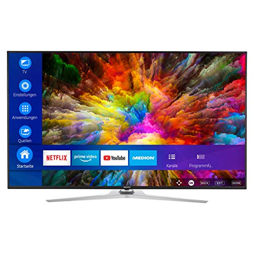 MEDION X16533 163,9 cm (65 Zoll) UHD Fernseher (Smart-TV, 4K Ultra HD, Dolby Vision HDR, Micro Dimming, MEMC, Netflix, Prime Video, WLAN, DTS Sound, PVR, Bluetooth)